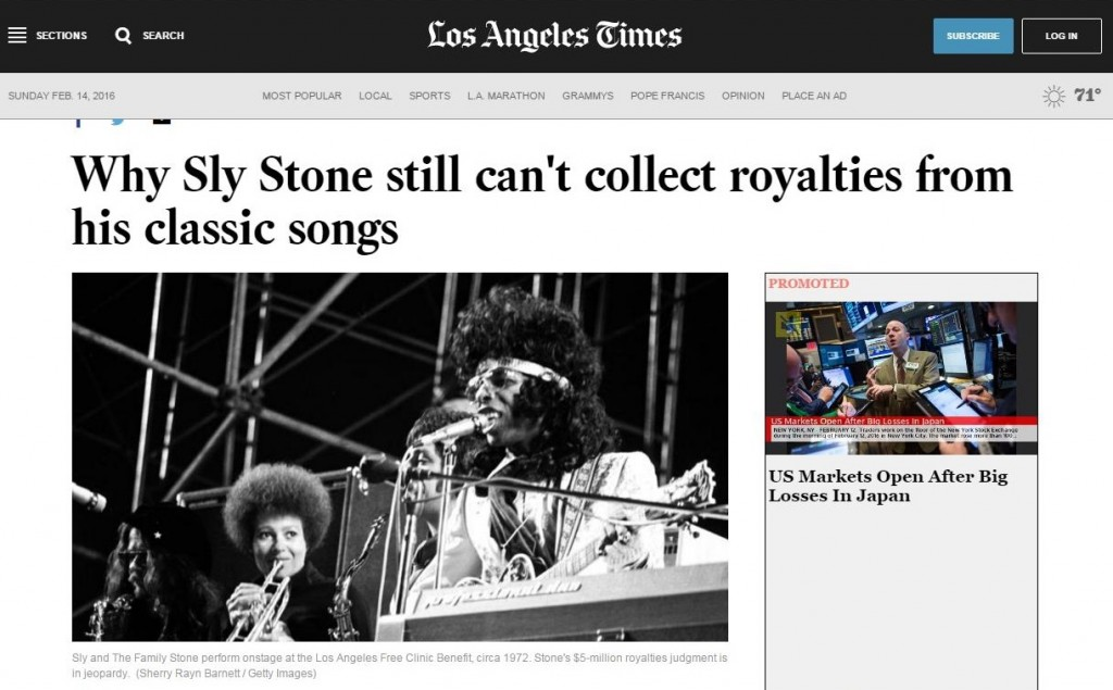 LA Times Why Sly Stone still can't collect royalties © Shery Rayn Barnett